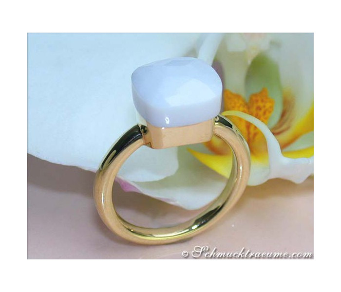 Feinster Achat Ring in Gelbgold 750