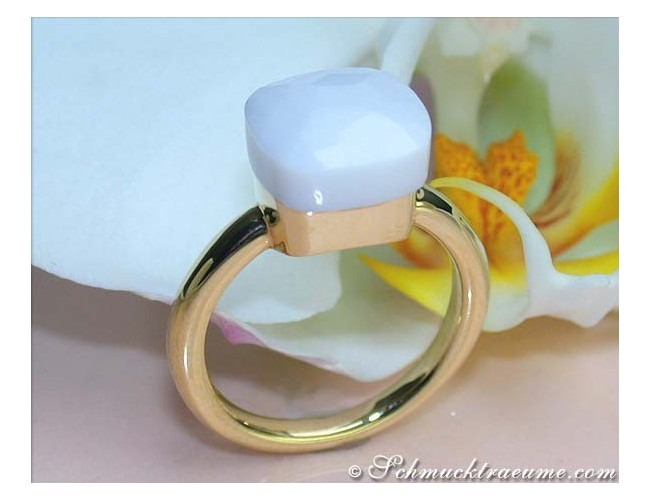 Pretty White Agate Ring
