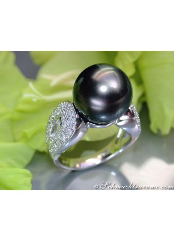 Huge Tahitian Pearl Ring with Diamonds