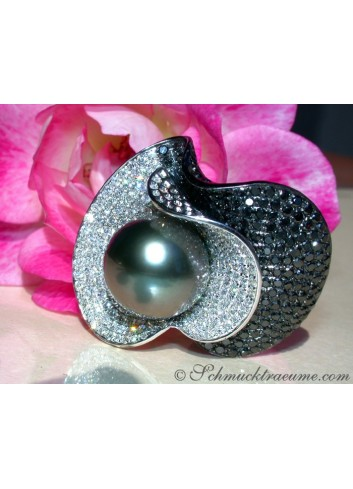 Terrific Tahitian Pearl Ring with Black & White Diamonds