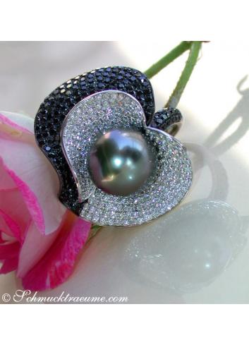 Tahitiperle Ring mit Brillanten & schwarzen Diamanten