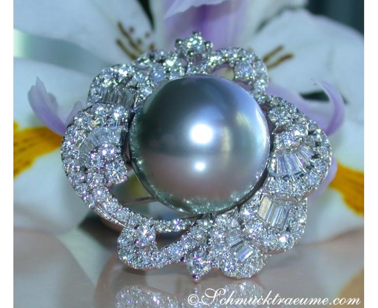 Tahitiperle Ring mit Brillanten & Diamanten
