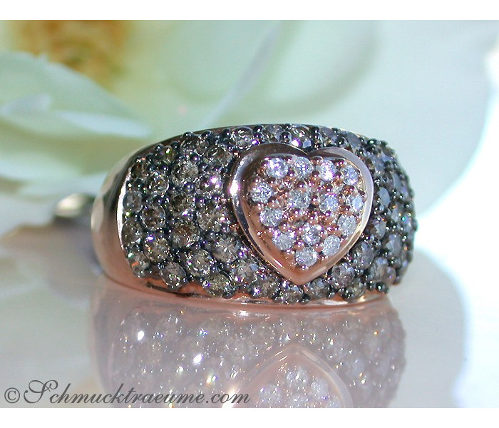 Timeless Heart Ring with Natural Brown & White Diamonds