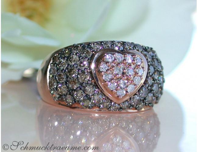Herz Ring mit naturbraunen und weißen Brillanten