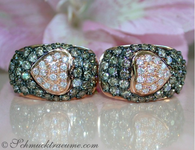 Timeless Heart Earrings with Brown & White Diamonds