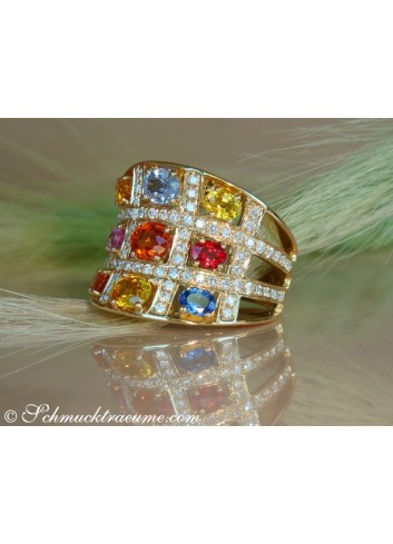 Stately Multicolor Sapphire Ring with Diamonds