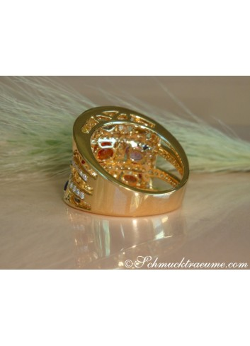 Multicolor Saphir Ring mit Brillanten