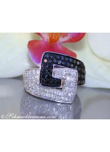 Gürtel Ring mit schwarzen Diamanten