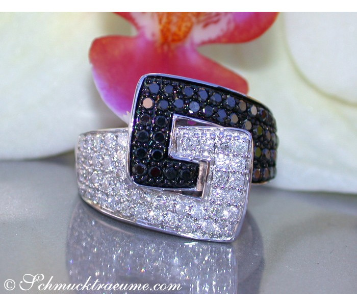 Extravagant Black & White Diamond Belt Ring