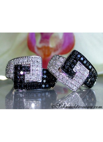 Extravagant Black & White Diamond Belt Earrings