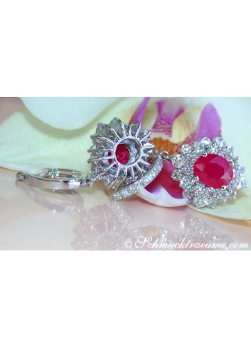 Exquisite Burmese Ruby Earrings with Diamonds