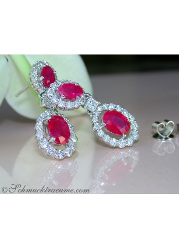 Elegant Burmese Ruby Earrings with Diamonds