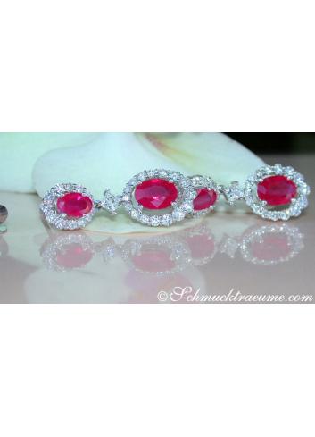 Elegant Burmese Ruby Earrings with Diamonds