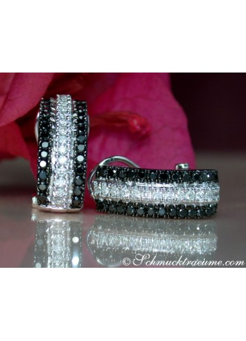Attractive Black & White Diamond Earrings