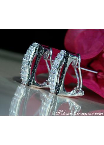 Unusual Black & White Diamond Earrings in White gold 14k