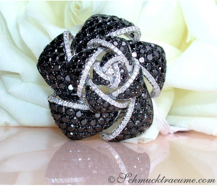 Tremendous Black & White Diamond Rose Ring
