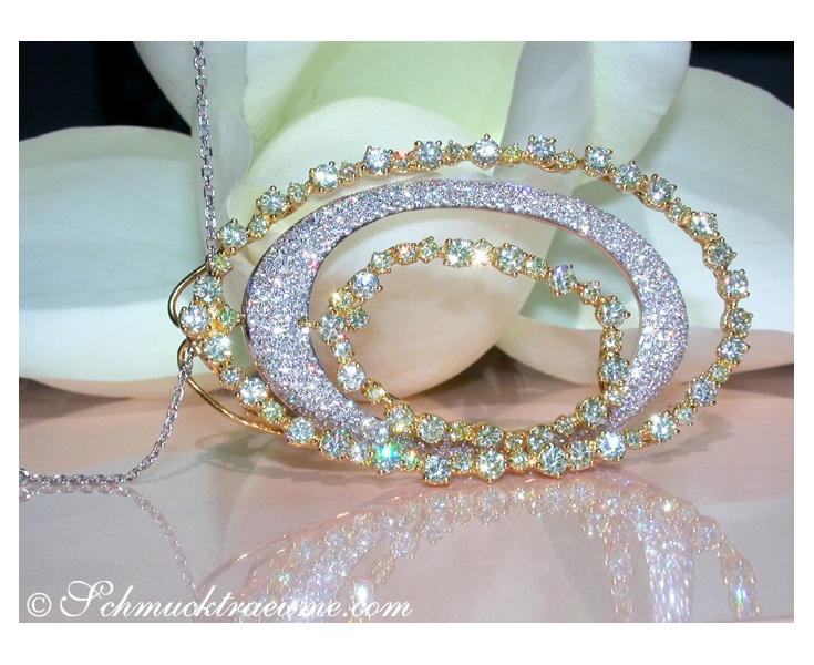 Outstanding Yellow & White Diamond Pendant