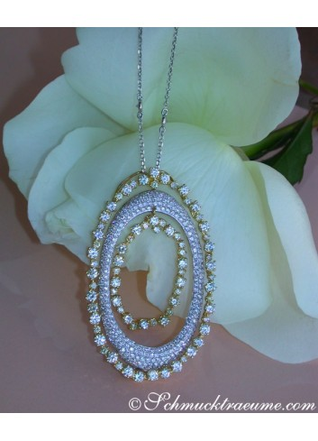 Outstanding Yellow & White Diamond Pendant