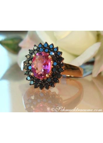 Pink Turmalin Ring mit schwarzen Diamanten