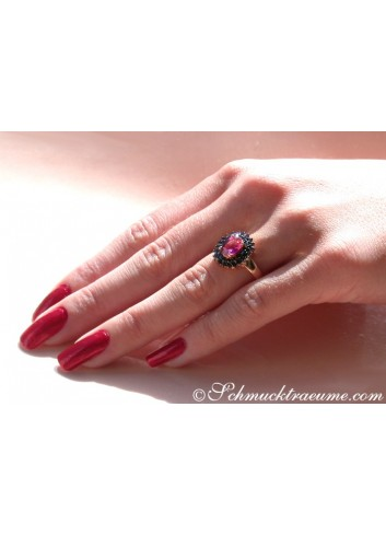 Enchanting Pink Tourmaline Ring with Black Diamonds