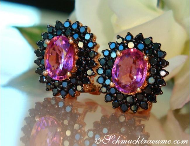 Pink Turmalin Ohrstecker mit schwarzen Diamanten