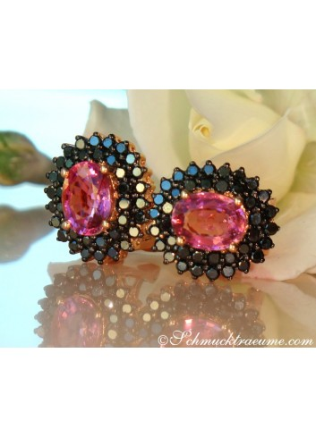 Enchanting Pink Tourmaline Studs with Black Diamonds