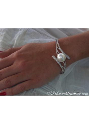 Unique Diamond Bangle with a white Southsea Pearl