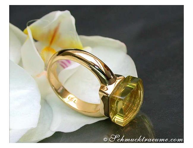Feinster Zitronenquarz Ring
