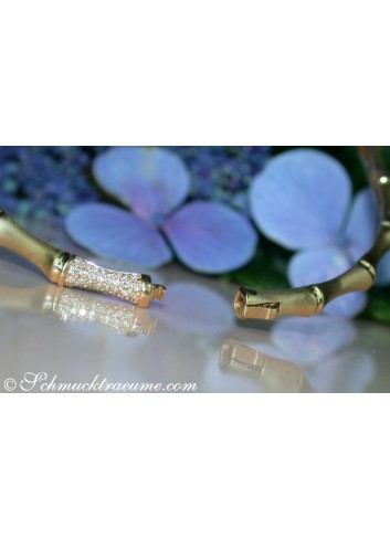 "Wonderful Diamond ""Bamboo"" Bangle in Yellow Gold"