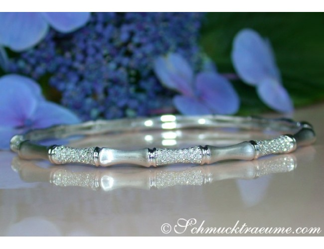 "Interesting Diamond ""Bamboo"" Bangle in White Gold"