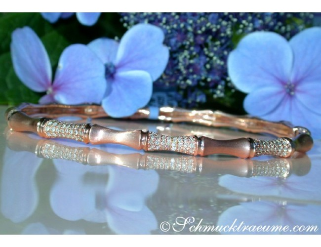 "Pretty Diamond ""Bamboo"" Bangle in Rose Gold"