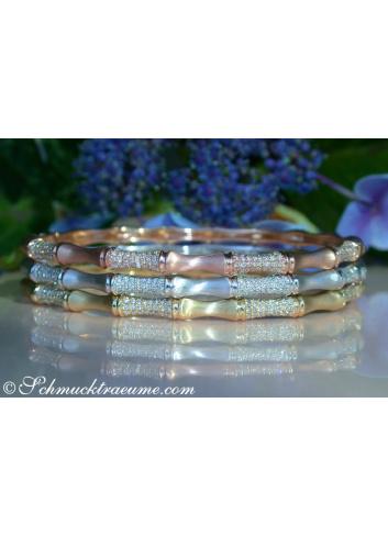 "Pretty Diamond ""Bamboo"" Bangle in Rose Gold"