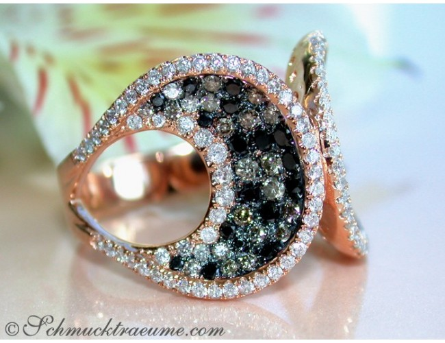 Interesting Ring with Black, Natural Brown & White Diamonds