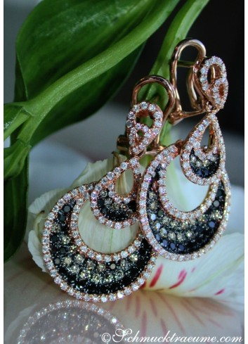 Interesting Earrings with Black, Natural Brown & White Diamonds