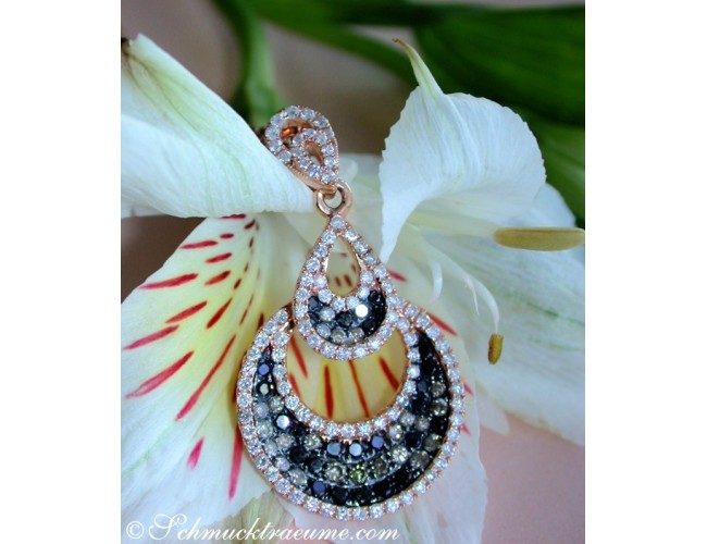 Interessanter Pendant with Black, Natural Brown & White Diamonds
