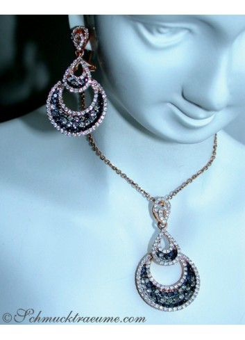 Interessanter Pendant with Black, Natural Brown & White Diamonds