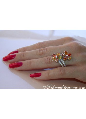Glorious Double Flower Ring with Sapphires & Diamonds