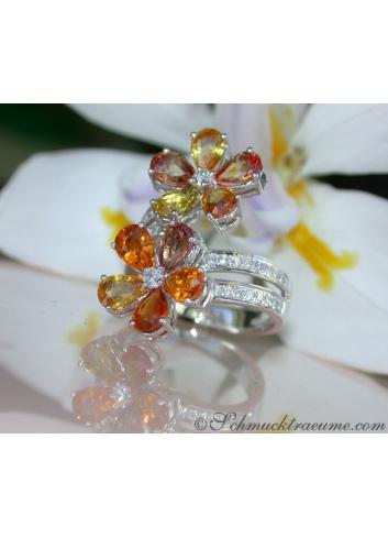 Doppel Blumen Ring mit Saphiren und Brillanten