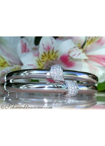 Solid Diamond Bangle in White gold 14k
