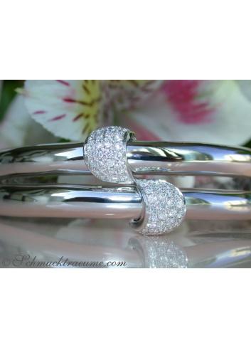 Solid Diamond Bangle in White gold 14k