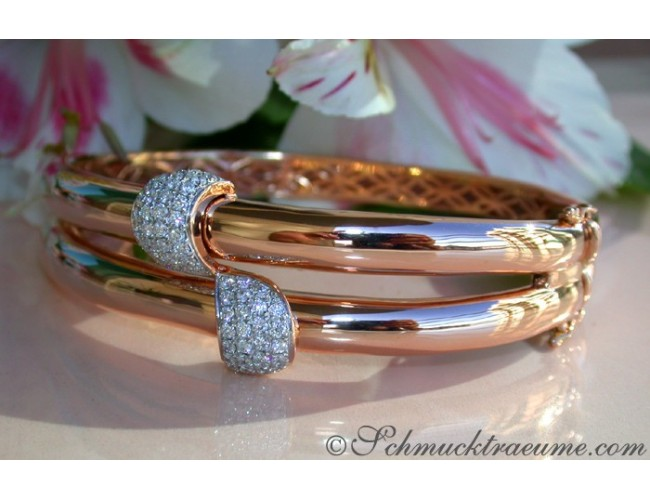 Solid Diamond Bangle in Rose gold 14k