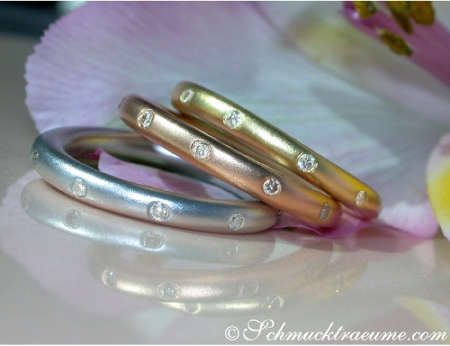"Three Diamond ""Starry Sky"" Rings"