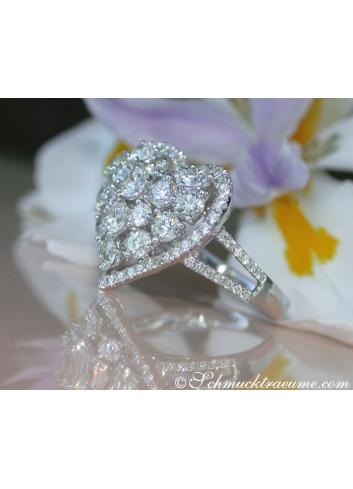 Brillanten Herz Ring in Weißgold