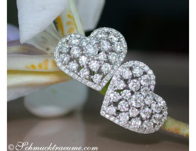 Exquisite Diamond Heart Earrings