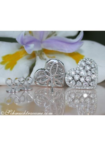 Exquisite Diamond Heart Earrings