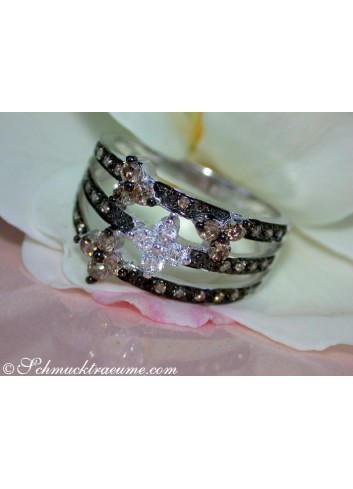 Precious Blossom Ring with Natural Brown & White Diamonds