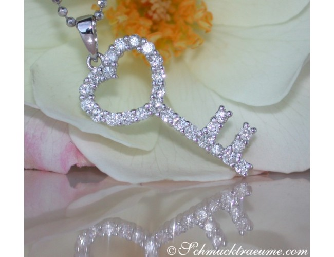 Cute Diamond Key Pendant