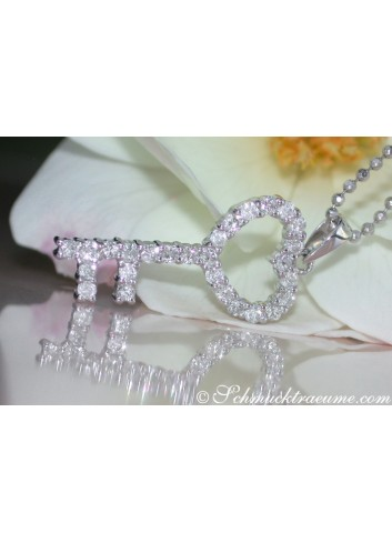 Cute Diamond Key Pendant