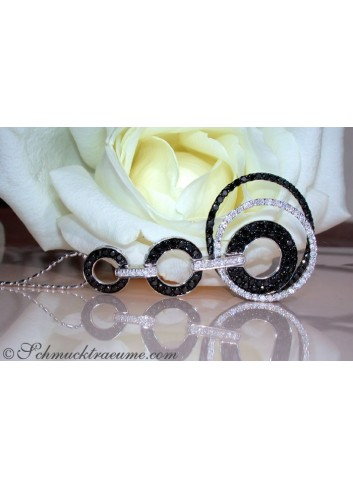 Extra Long Black & White Diamond Pendant