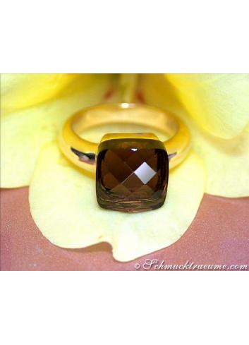 Rauchquarz Ring in Gelbgold